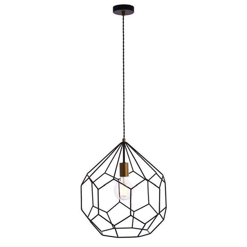 Endon-76686 - Deco - Black & Gold Geometric Cage Pendant