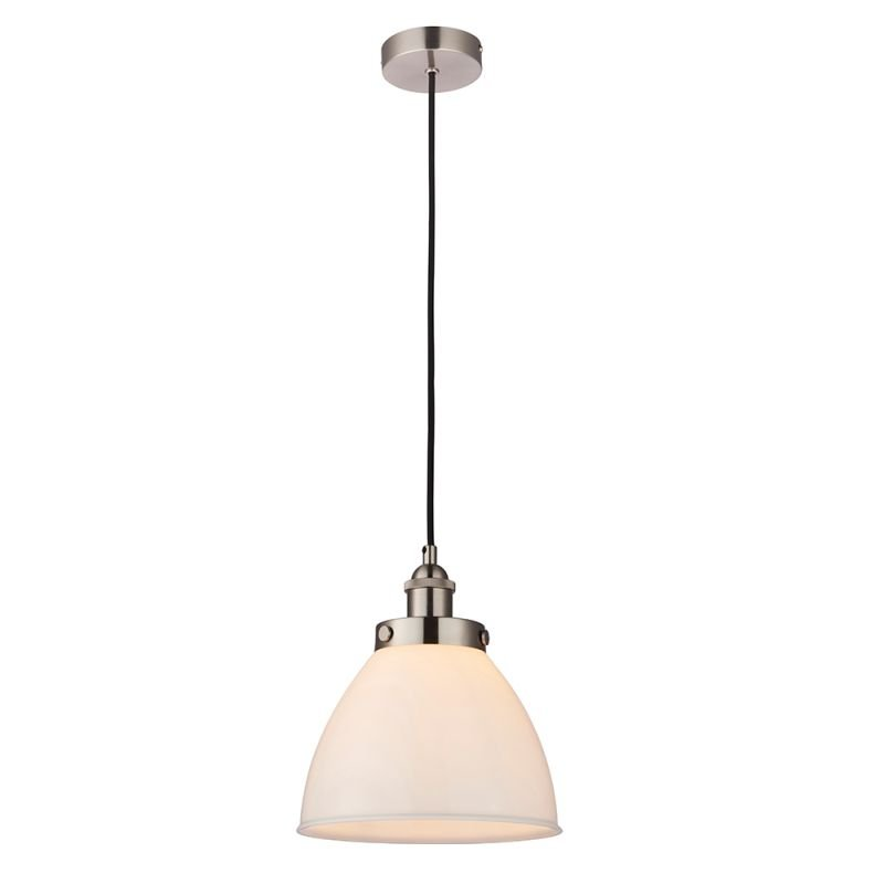 Endon-76758 - Rowan - Opal Glass & Satin Nickel Pendant