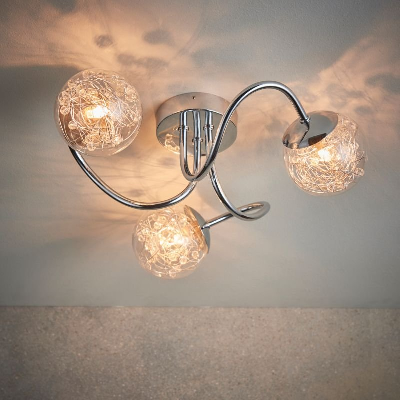 Endon-76880 - Auria - Clear Glass with Striking Pattern 3 Light Ceiling Lamp