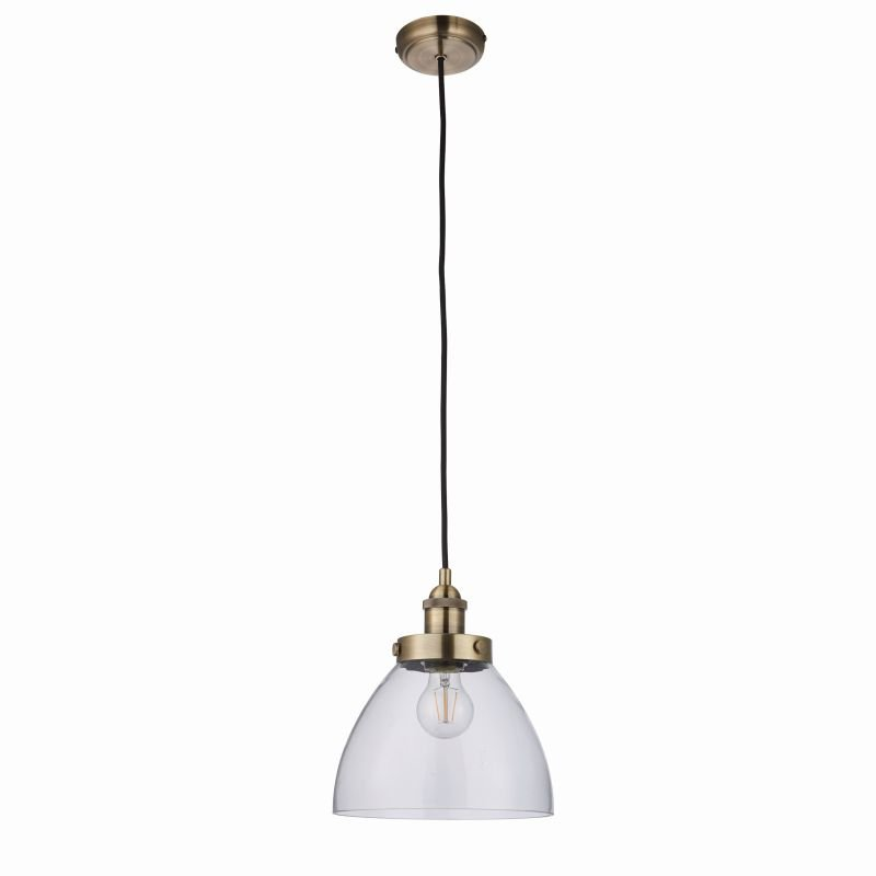 Endon-77272 - Hansen - Antique Brass with Clear Glass Hanging Pendant