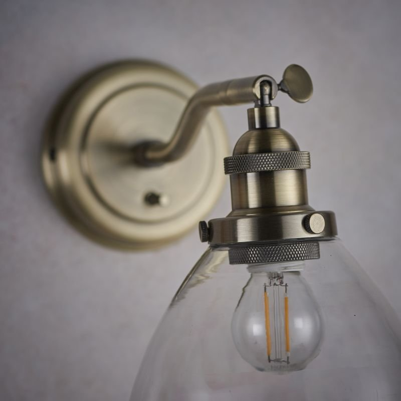 Endon-77273 - Hansen - Antique Brass with Clear Glass Wall Lamp