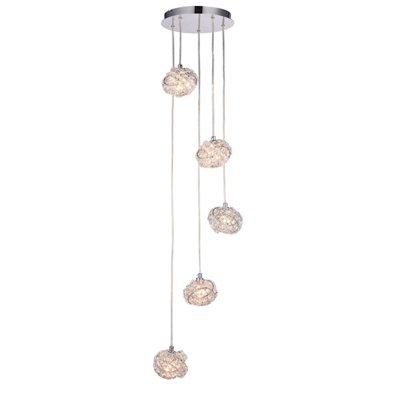 Endon-77566 - Talia - Crystal & Chrome 5 Light Cluster Pendant