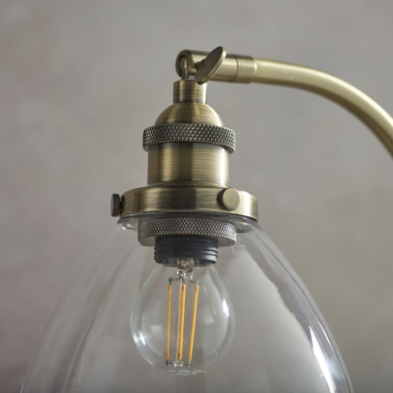 Endon-77859 - Hansen - Antique Brass with Clear Glass Table Lamp