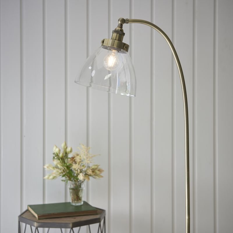 Endon-77860 - Hansen - Antique Brass with Clear Glass Floor Lamp