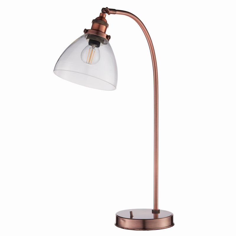 Endon-77861 - Hansen - Aged Copper with Clear Glass Table Lamp
