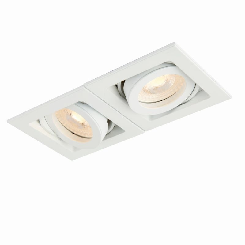 Saxby-78531 - Xeno - Square Matt White Twin Recessed Downlight