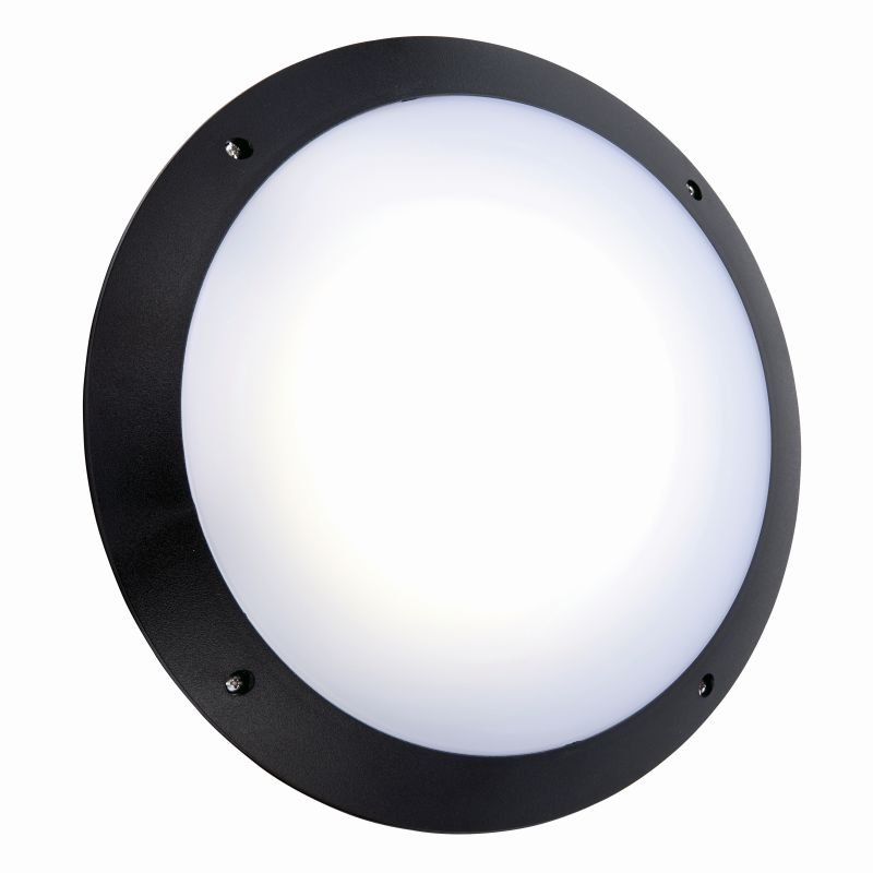 Saxby-78607 - Seran - LED Black & White Plain Microwave Bulkhead