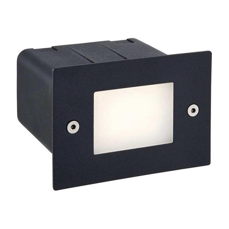 Saxby-78645 - Seina - LED Black & Frosted Glass Half Brick Light