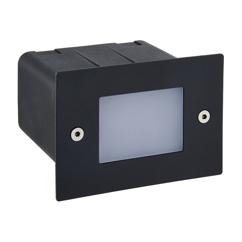 Saxby-78645 - Seina - LED Black & Frosted Glass Half Brick Light