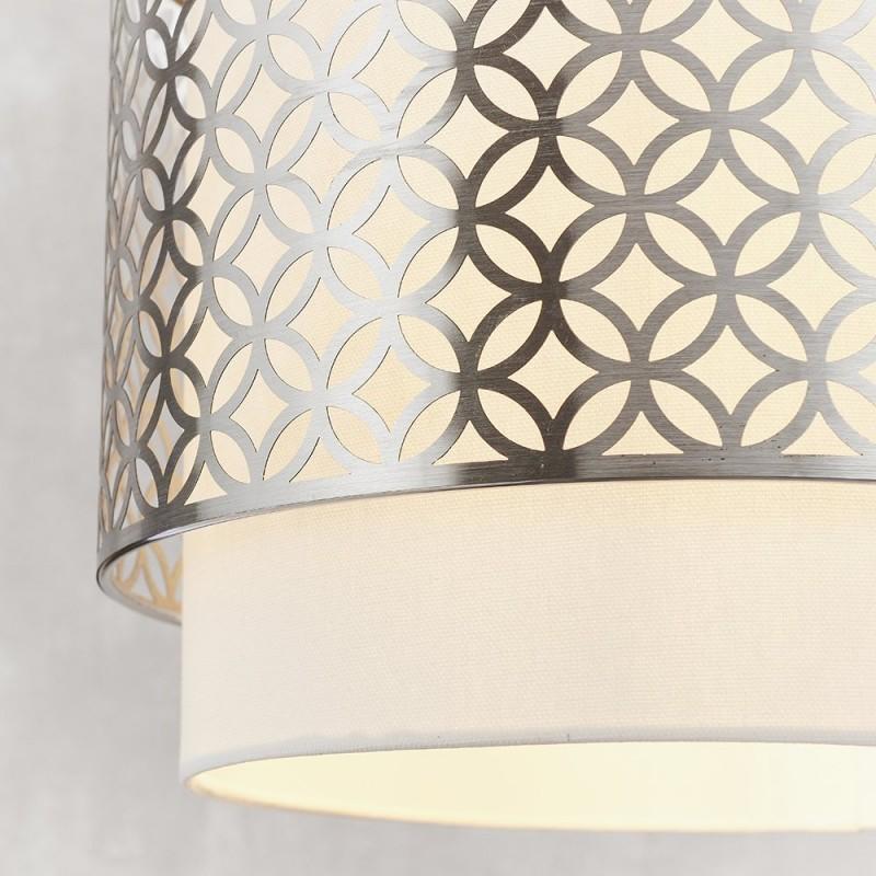 Endon-78726 - Gilli - Vintage White Linen with Satin Nickel Single Pendant