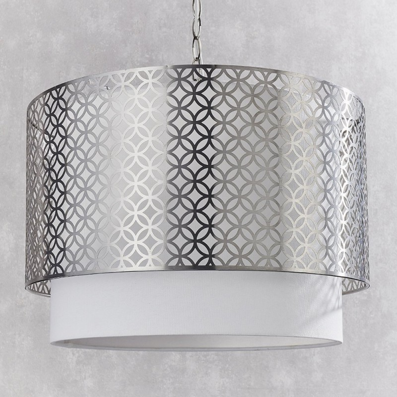 Endon-78728 - Gilli - Vintage White Linen with Satin Nickel 3 Light Pendant