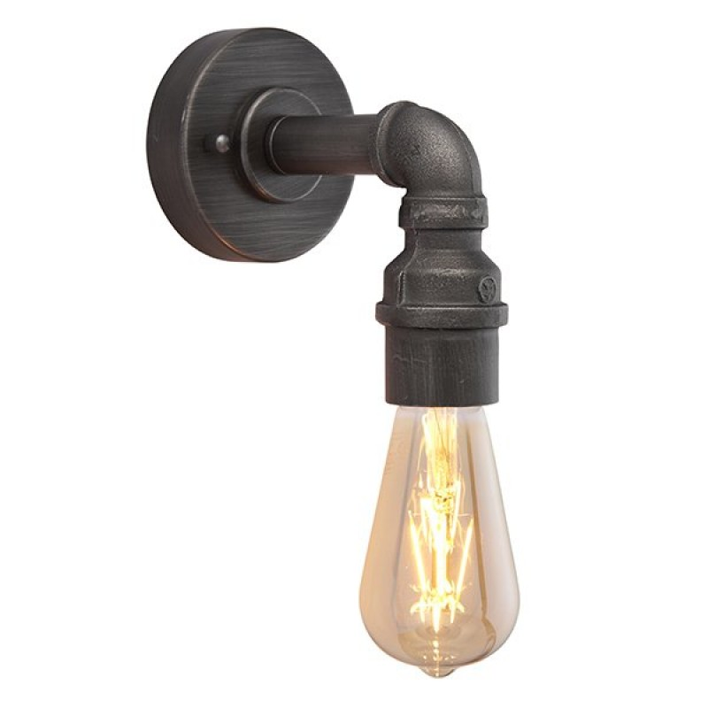 Endon-78765 - Pipe - Aged Pewter 1 Light Pipe Wall Lamp