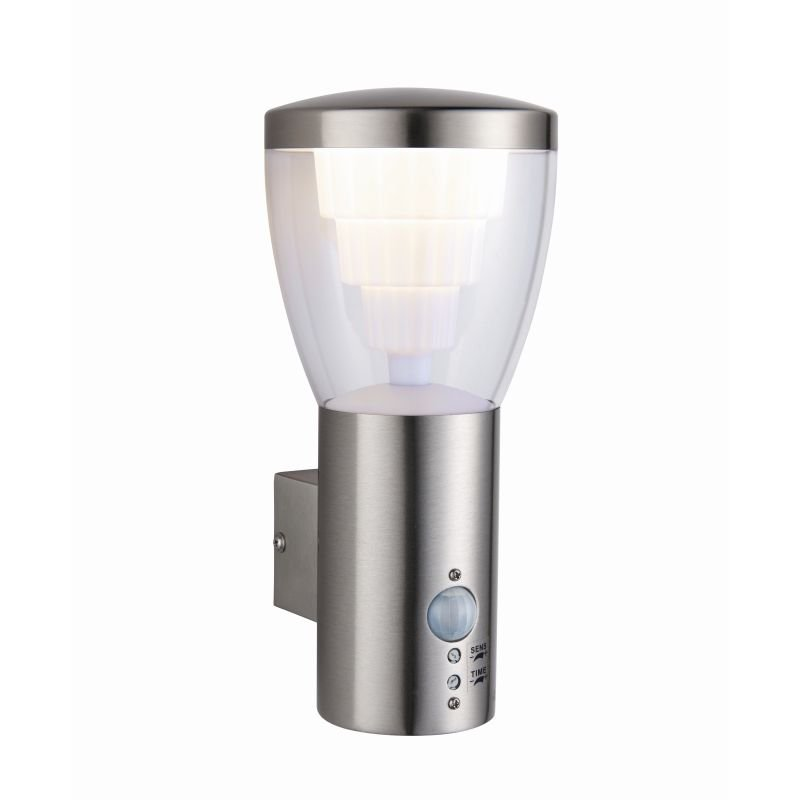 Saxby-79198 - Carraway - LED Clear & Stainless Steel PIR Wall Lamp