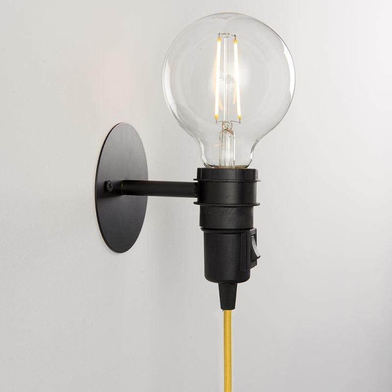 Endon-79382 - Studio - Matt Black Plug-in Wall Lamp