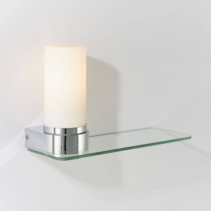 Endon-79920 - Tal - White Glass Wall Lamp with Glass Shelf