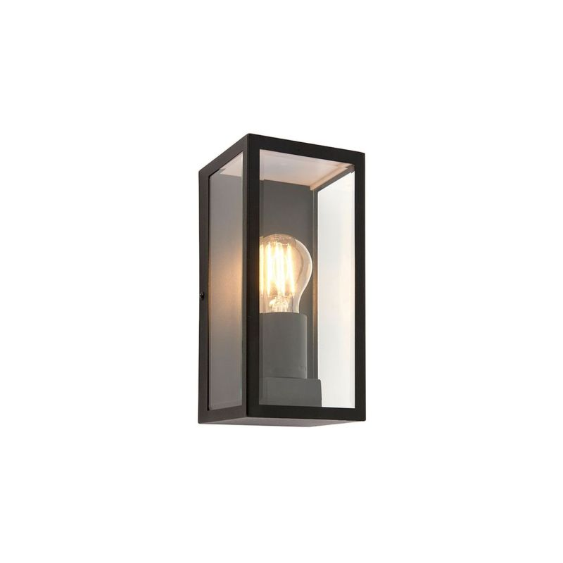 Endon-80600 - Oxford - Matt Black with Clear Glass Lantern Wall Lamp