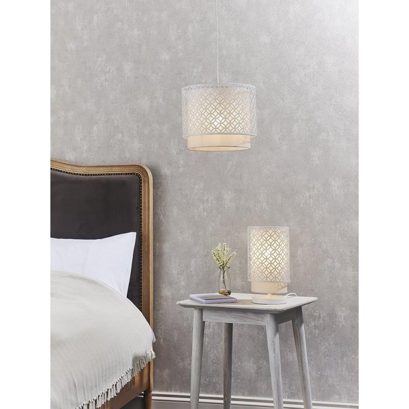 Endon-81030 - Gilli - Pale Grey Cotton with Matt White Table Lamp