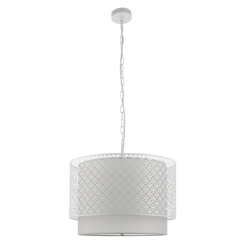Endon-81031 - Gilli - Pale Grey Cotton with Matt White 3 Light Pendant