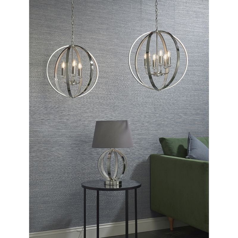 Endon-81507 - Ritz - Crystal & Bright Nickel 3 Light Globe Pendant