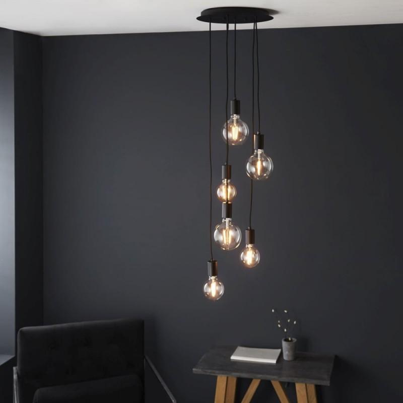 Endon-81535 - Studio - Matt Black 6 Light Cluster Fitting