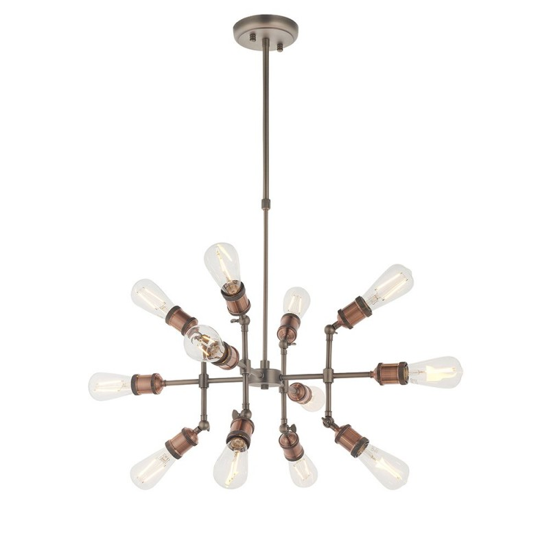Endon-81609 - Hal - Aged pewter & Aged copper 12 Light Centre Fitting