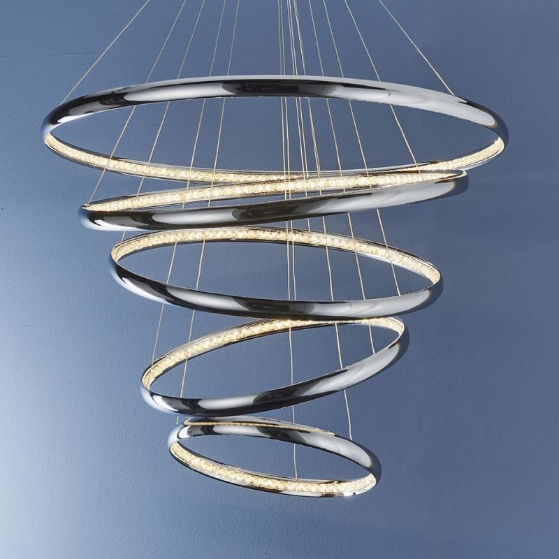 Endon-81906 - Ozias - LED Crystal & Chrome 5 Light Rings Pendant