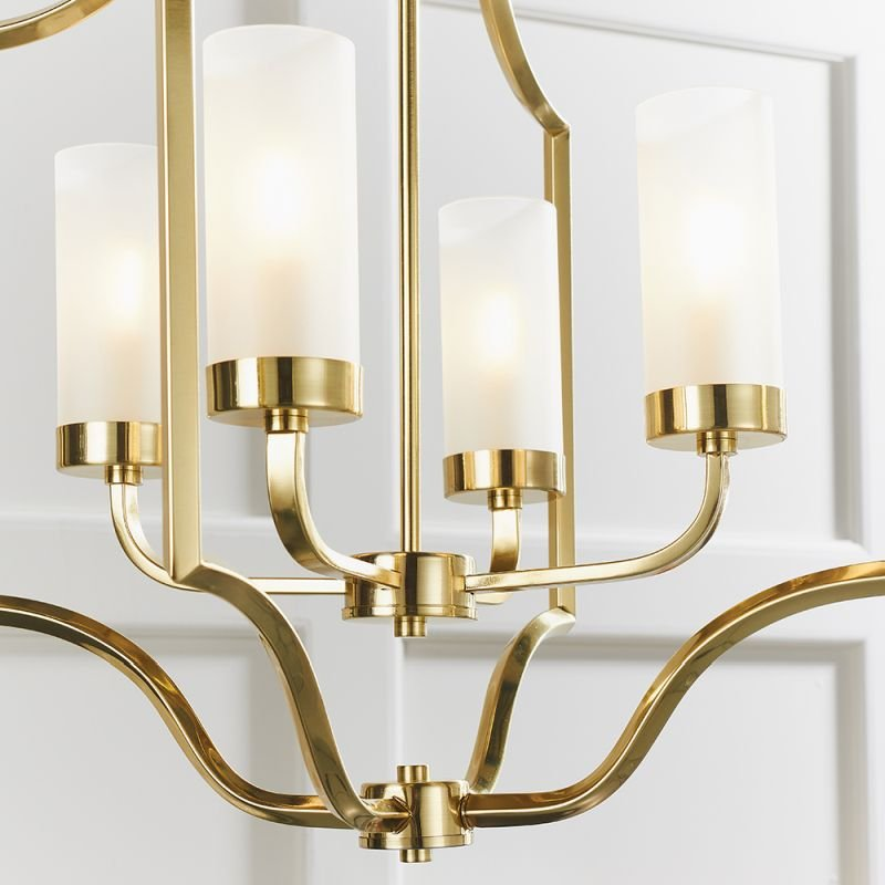 Endon-81914 - Edrea - Frosted Glass & Satin Gold 4 Light Centre Fitting