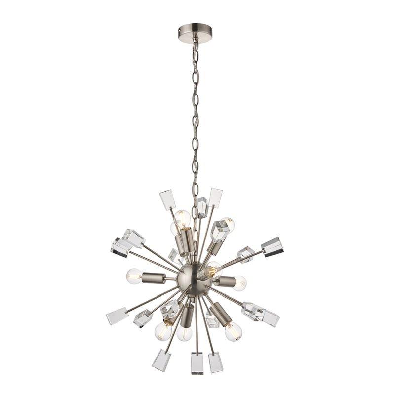Endon-81917 - Miro - Crystal & Satin Nickel 9 Light Centre Fitting