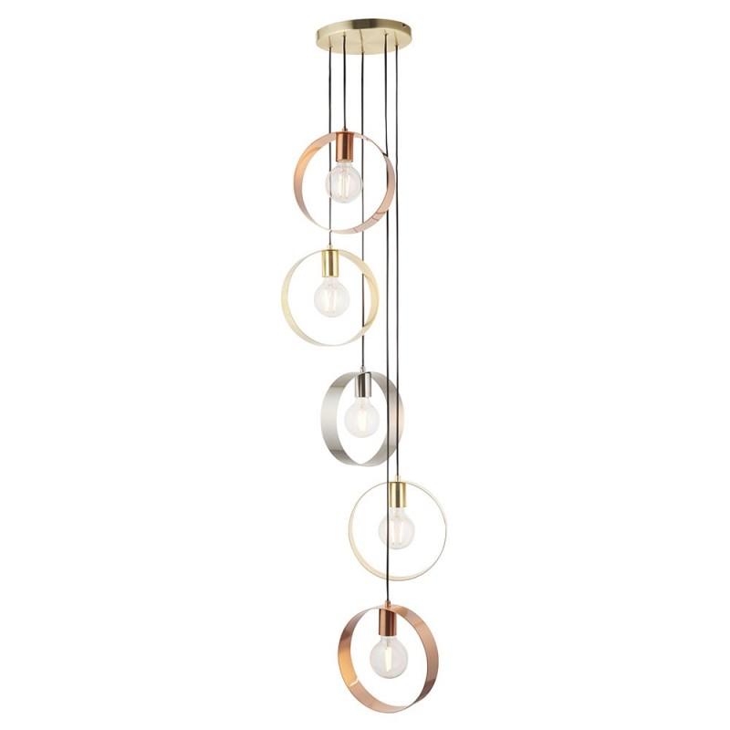 Endon-81923 - Hoop - Brushed Gold, Nickel, Copper 5 Light Cluster Pendant