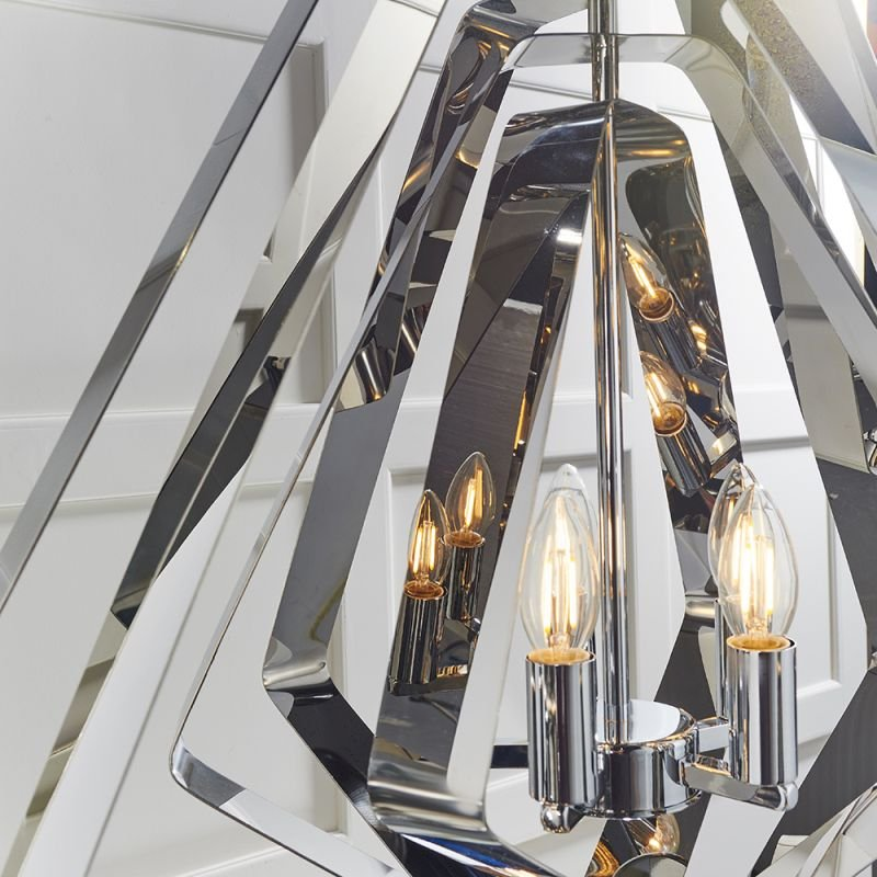 Endon-81929 - Riona - Modern Twist Polished Chrome 5 Light Pendant