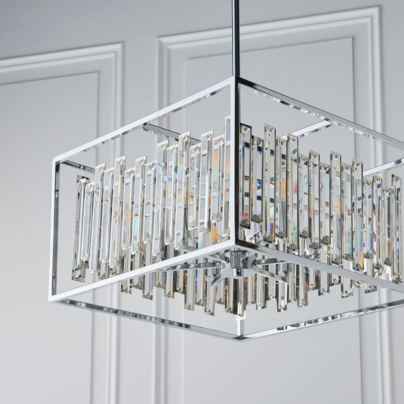 Endon-81931 - Acadia - Crystal with Polished Chrome 6 Light Pendant