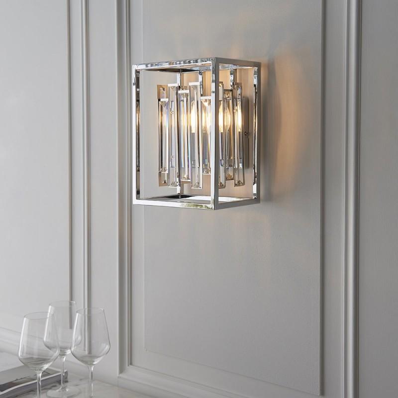 Endon-81932 - Acadia - Crystal with Polished Chrome Wall Lamp