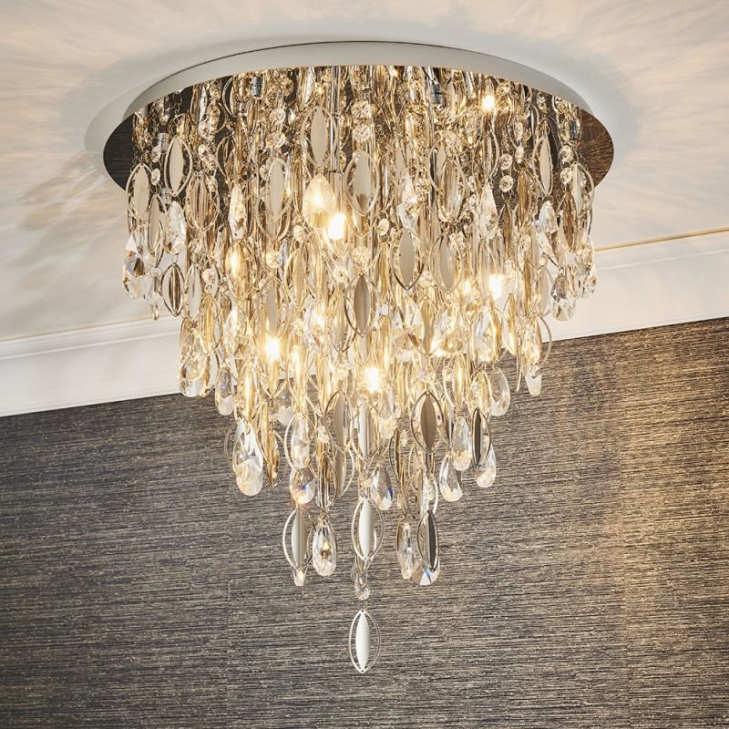 Endon-81955 - Melody - Crystal & Chrome 6 Light Ceiling Lamp