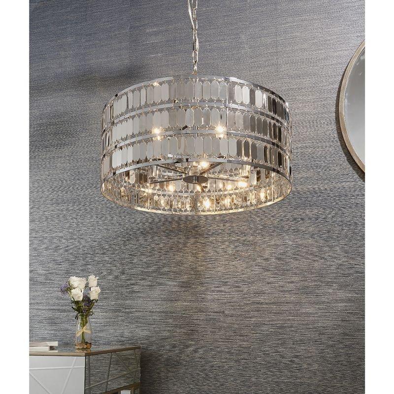Endon-81965 - Eldora - Chrome Hexagonal Plates 5 Light Pendant