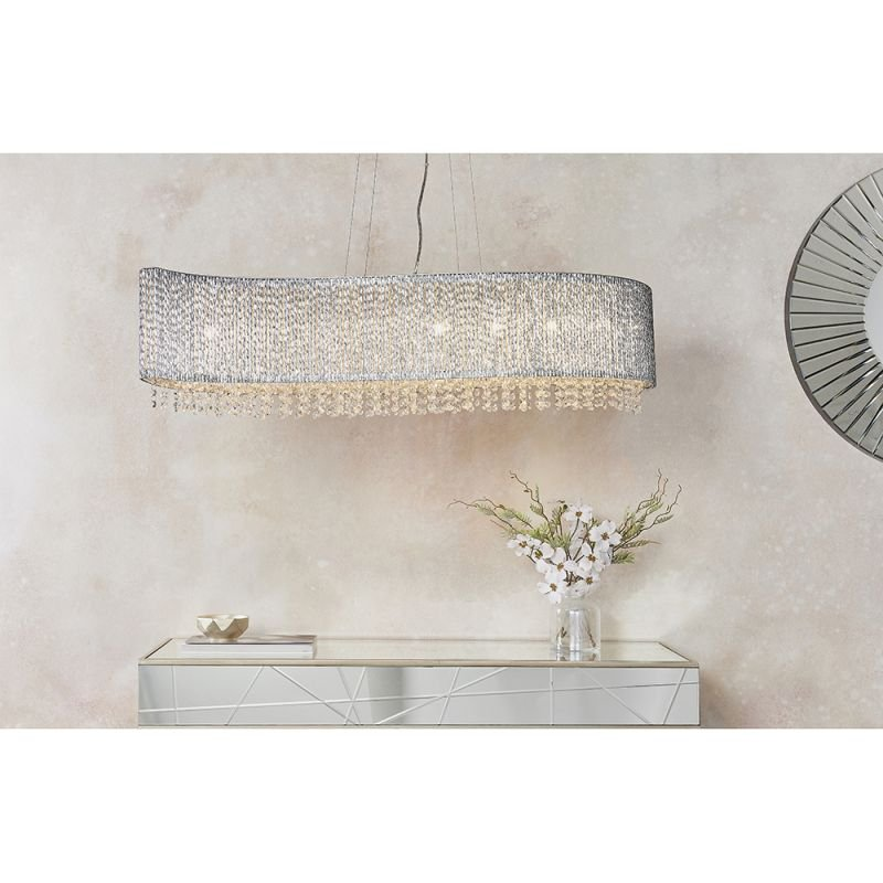 Endon-81979 - Galina - Crystal & Chrome Rods 8 Light over Island Fitting