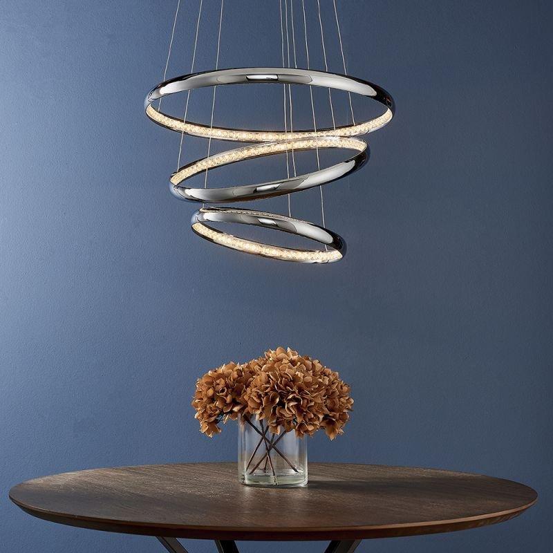 Endon-90292 - Ozias - LED Crystal & Chrome 3 Light Rings Pendant