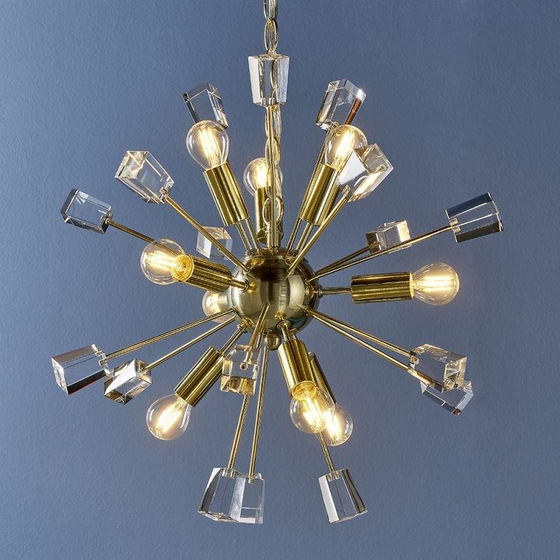 Endon-90293 - Miro - Crystal & Satin Gold 9 Light Centre Fitting