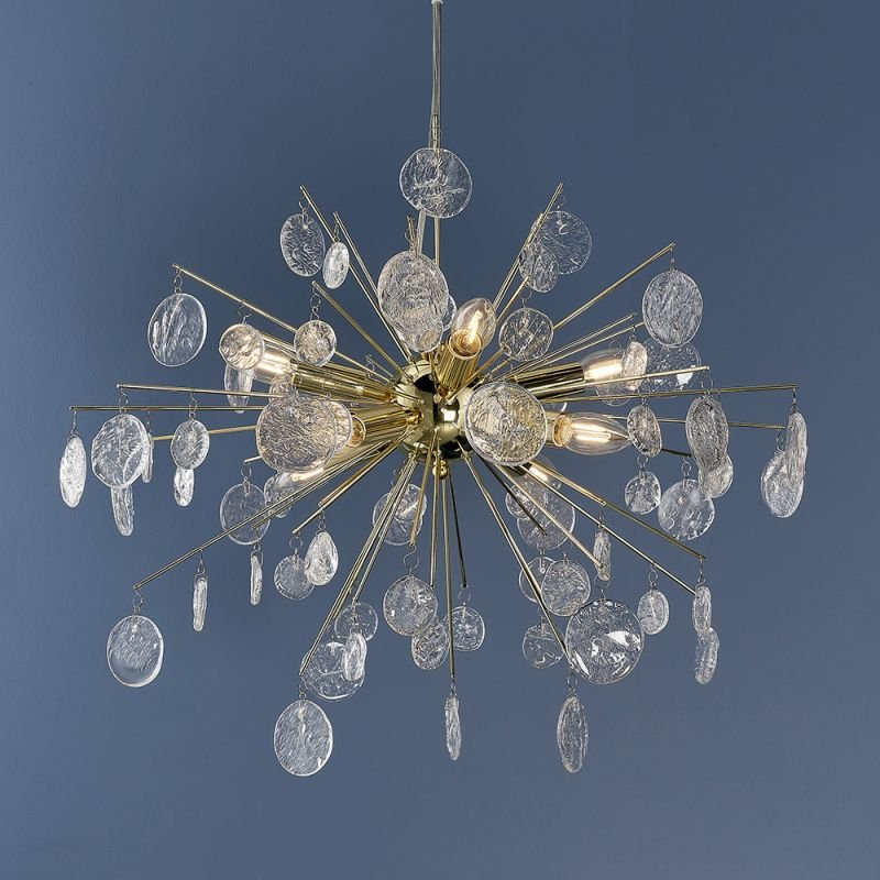Endon-90294 - Calla - Clear Glass & Gold 8 Light Centre Fitting