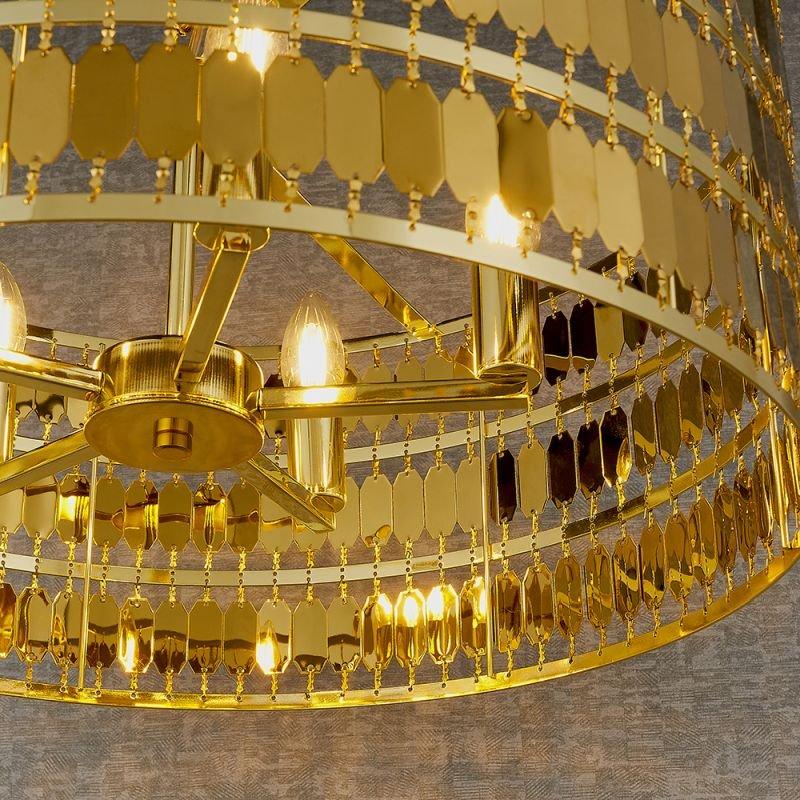 Endon-90299 - Eldora - Gold Hexagonal Plates 5 Light Pendant
