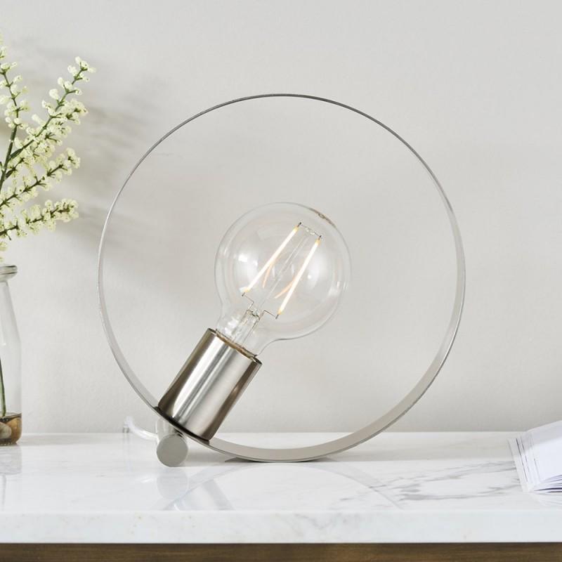 Endon-90453 - Hoop - Brushed Nickel 1 Light Table Lamp