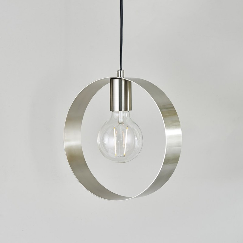 Endon-90454 - Hoop - Brushed Nickel Single Hanging Pendant