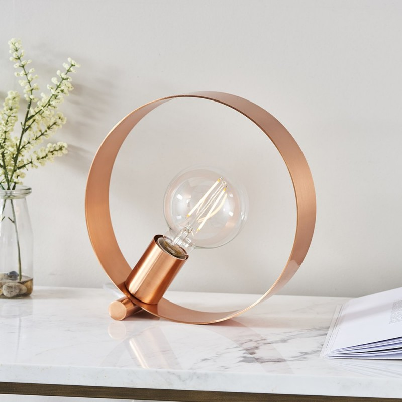 Endon-90455 - Hoop - Brushed Copper 1 Light Table Lamp