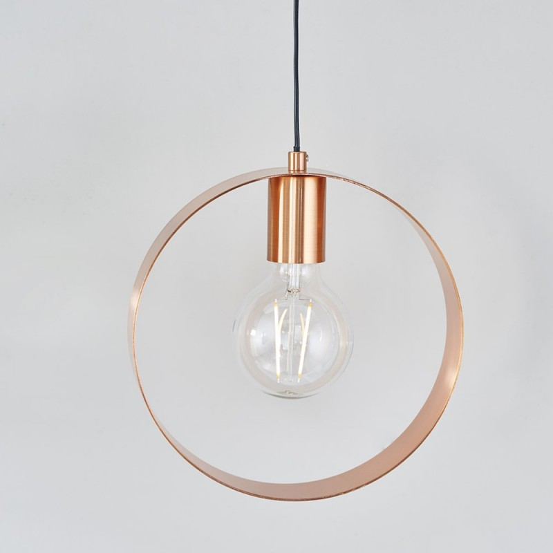 Endon-90456 - Hoop - Brushed Copper Single Hanging Pendant