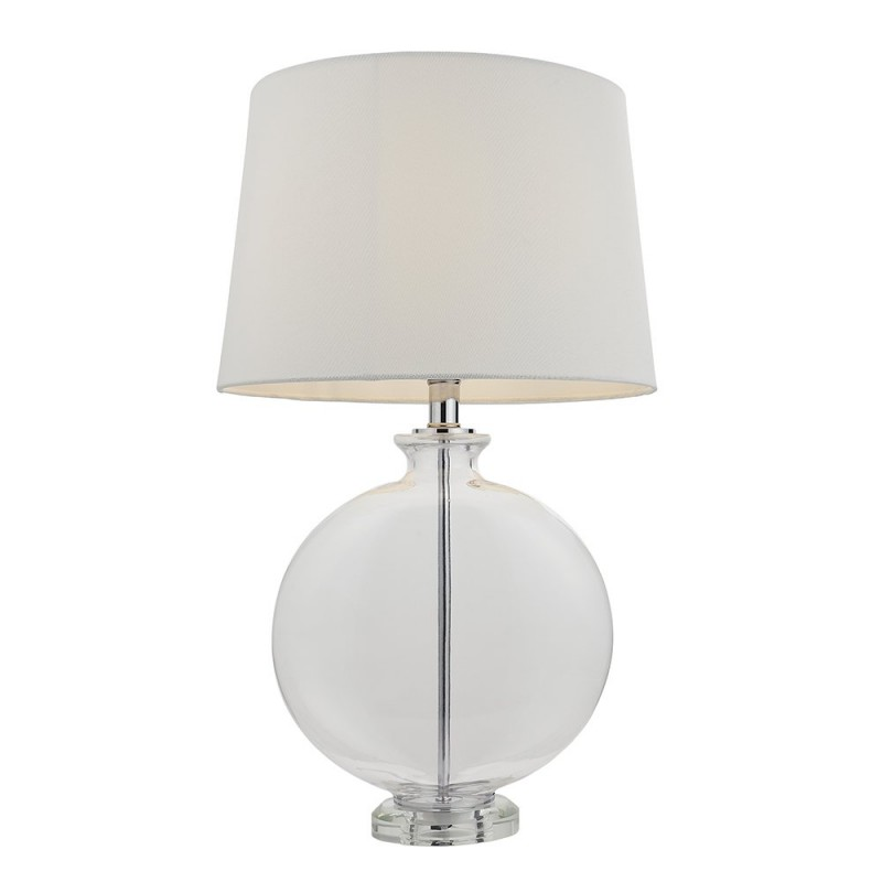 Endon-90535 - Gideon - White Linen & Clear Glass Table Lamp