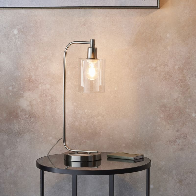 Endon-90558 - Toledo - Clear Glass & Brushed Nickel Table Lamp