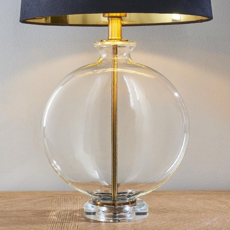 Endon-90559 - Gideon - Black Velvet & Clear Glass Table Lamp