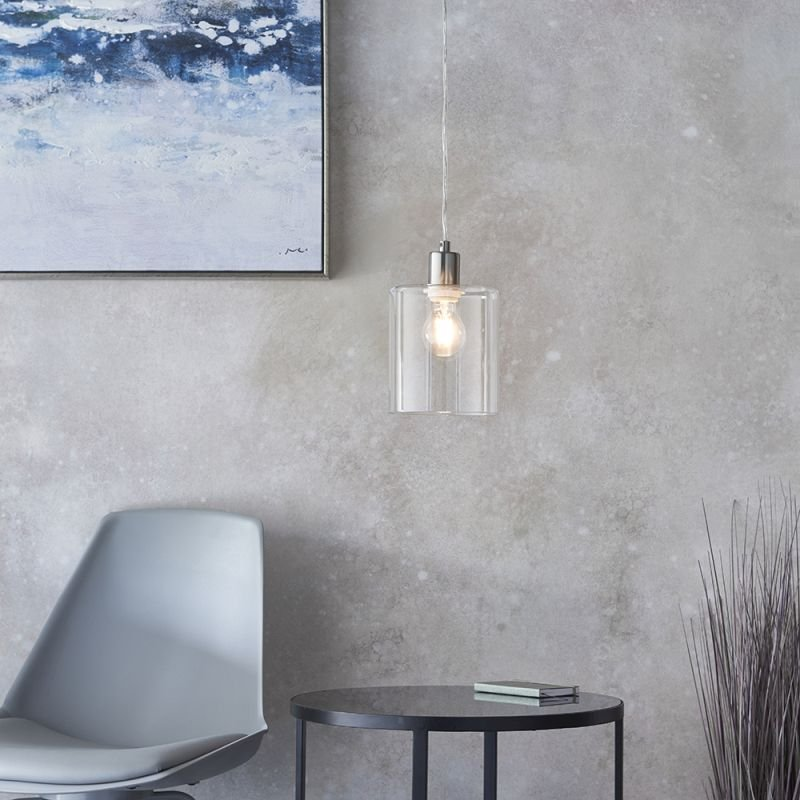 Endon-90563 - Toledo - Clear Glass & Brushed Nickel Pendant
