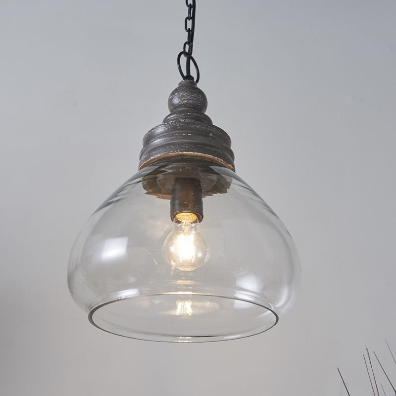 Endon-90575 - Kerala - Clear Glass & Taupe Grey Wood Pendant