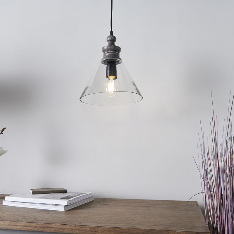 Endon-90576 - Kerala - Clear Glass & Taupe Grey Wood Pendant
