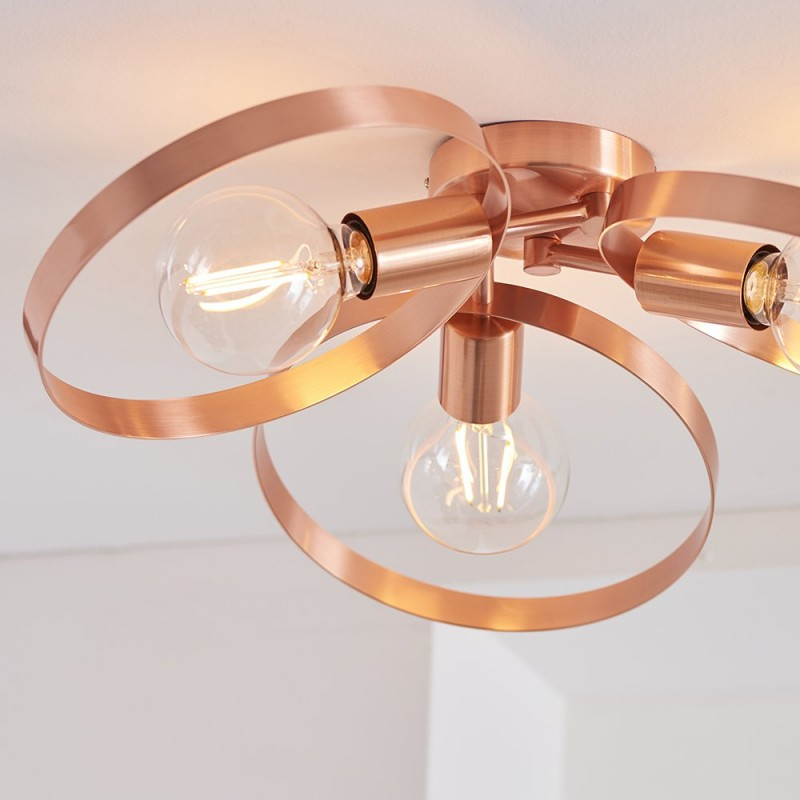 Endon-91039 - Hoop - Brushed Copper 3 Light Semi-Flush